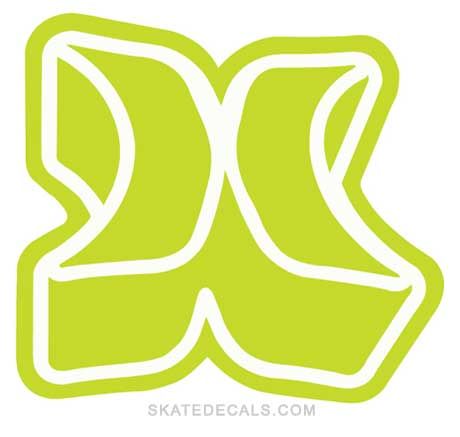 2 Hurley H Logo Stickers Decals - Click Image to Close