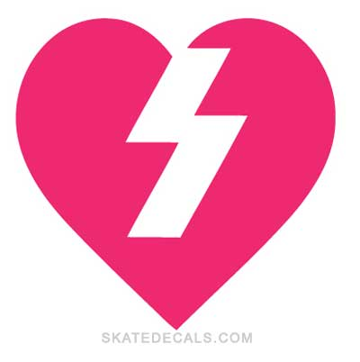 2 Mystery Skateboards Heart Logo Stickers Decals