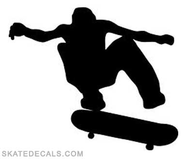2 Skateboader Silhouette Stickers Decals